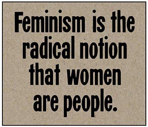 """imán del movimiento feminista con frase: """"El feminismo es la noción radical de que las mujeres son personas"""""""