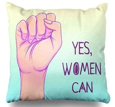 """funda de cojín con frase movimiento feminista """"Yes We Can"""" (""""nosotras podemos"""")"""