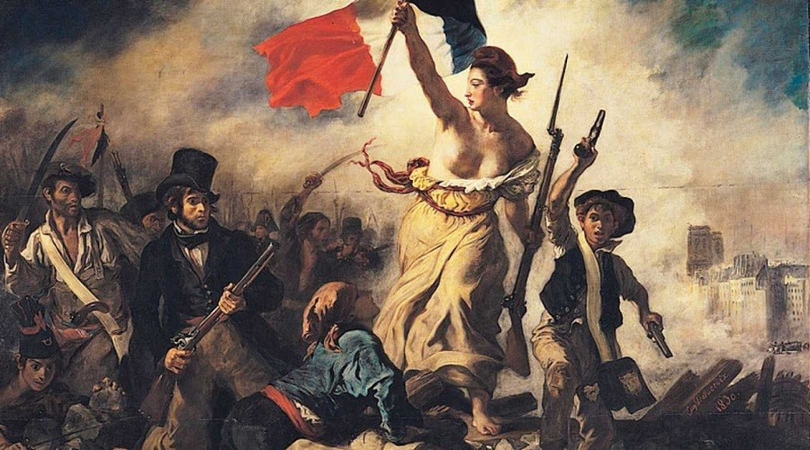 toda la historia de la revolucion del movimiento feminista, la libertad guiando al pueblo delacorix